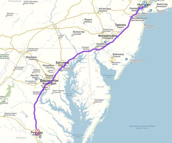 карта двухнедельного путешествия в США